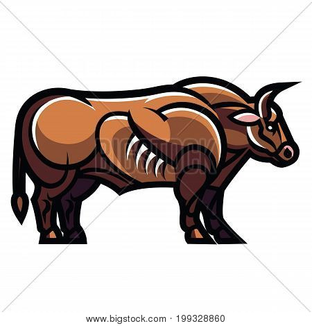 Stylized drawing of a powerful standing ultra muscular bull