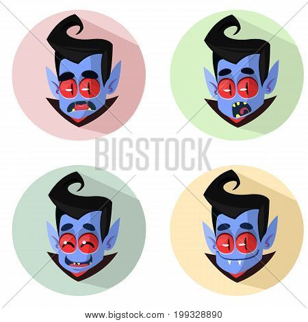 Cartoon vampire heads icons. Vector illustration of vampire emotions