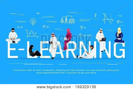 E-learning concept. Young Muslim people with tablet pc and laptops are engaged in distance learning on the Internet. Flat men and women sit and read using gadgets. Vector illustration.