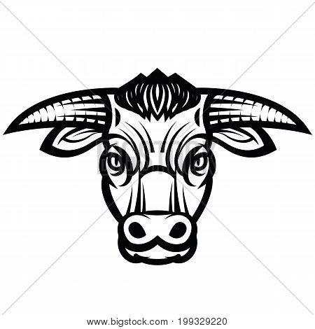 Vector draving of the head of powerful horned bull