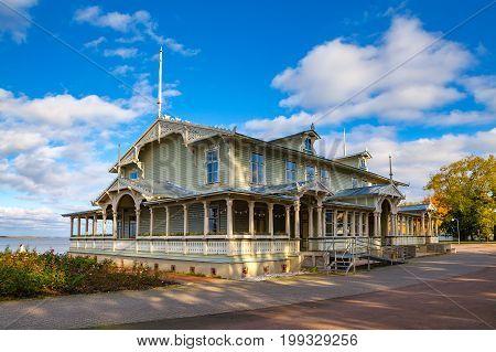 Beautiful wooden rotary club on the shore of Baltic sea, Haapsalu, Estonia