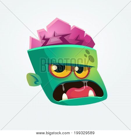 Cute Zombie Head Cartoon Character. Zombie growling and yelling vector illustration