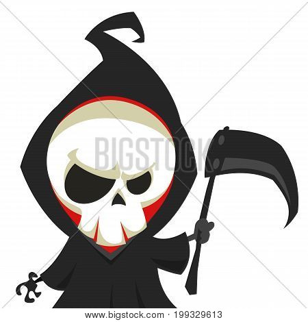 Cute cartoon grim reaper with scythe isolated on white. Vector illustration