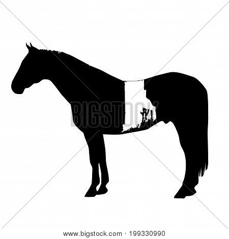 Vector Horse Silhouette With Rhode Island Boundary Patch Illustration