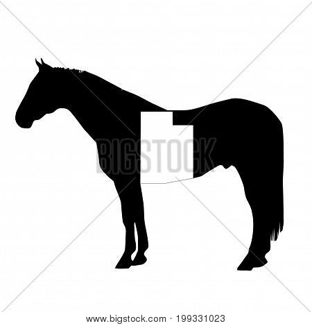 Vector Horse Silhouette With Utah Boundary Patch Illustration