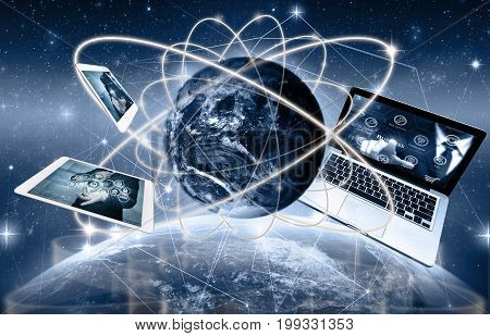 Social network with Technology device on world map and earth planet with network line and lens flare background Elements of this image furnished by NASA Business network concept,3D illustration