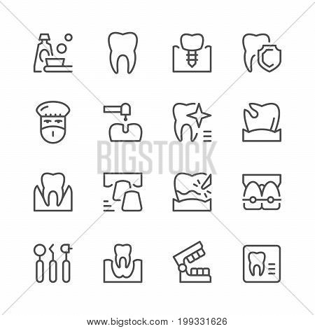 Set of dental related line icons isolated on white. Vector illustration