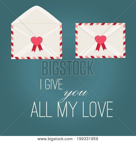 Happy Valentine Day Envelope with Paper Hearts. Illustration love Mail Envelope, Letter paper romantic hearts inside. Can be used for Mothers and Womens Day Greetings. Love mail letter.