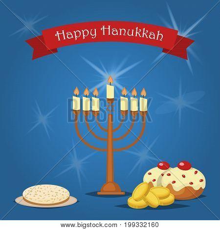 Hanukkah Typography Design. Jewish holiday. Hanukkah Menorah on blue background. Happy Hanukkah greeting card design illustration. Tradition religion jewish holiday.