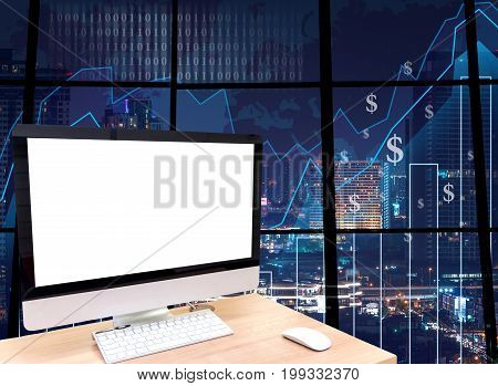 the computer on the wood table in front of the glass window over the blurred photo of cityscape background, 3D illustration