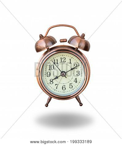 vintage alarm clock ringing on white background include clipping path
