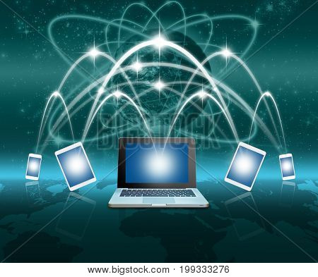 Laptops tablet and smart mobile phone against globe blue over earth and world map with network line backgroundElements of this image furnished by NASABusiness network conceptGlobalization concepts,3D illustration