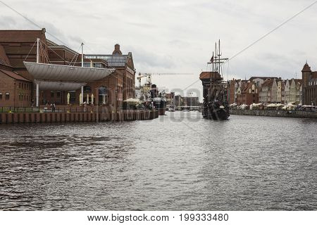 Gdansk, Poland - August 04,2017:pirate Ship At Motlawa River In Gdansk, Poland.