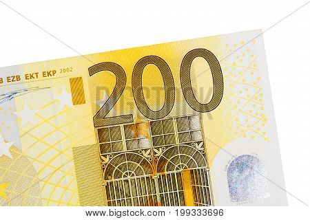 Two hundred euro banknote isolated on white background. High resolution photo.