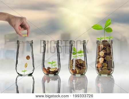 Hand putting Gold coins and seed in clear bottle on cityscape photo blurred cityscape backgroundBusiness investment growth concept, 3D illustration