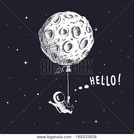 Cute spaceman flies with the moon like a balloon. Hand drawn style.Prints design.Childish vector illustration