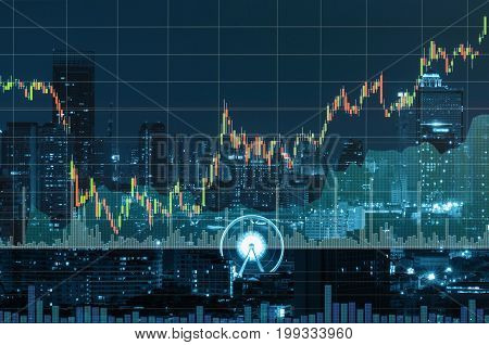 Stock market exchange information and Trading graph on the cityscape at night backgroundBusiness trading concept,3D illustration