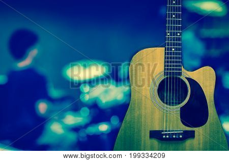 Guitar on music band background musical concept
