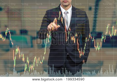 businessman pointing the stock graph with stock market exchange over the trading room business marketing concept,3D illustration