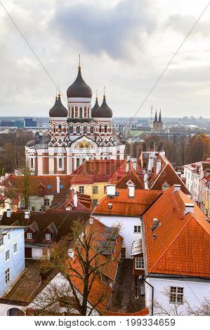 Toompea hill with Russian Orthodox Alexander Nevsky Cathedral, view from the Dome church, Tallinn, Estonia. Vertical shot.