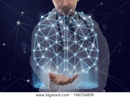 Double exposure of Asian Doctor with the stethoscope equipment holding the polygonal brain shape of an artificial intelligence with lines and dots and shadow background physician concept, 3D illustration