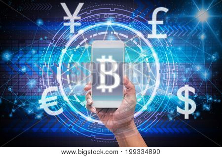 holding smart phone showing the financial technology with block chain over the innovation technology virtual screen on part of earth with the star Elements of this image furnished by NASA,3D illustration