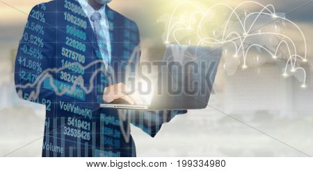 Double exposure of businessman using the tablet with Stock market chart on blurred building wirh social network and connection background Business Trading and connection concept,3D illustration