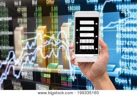 Female hand holding mobile phone showing the chat message before place the order over the Stock market chartCloseup Stock market exchange data on LED display business trading and technology concept,3D illustration