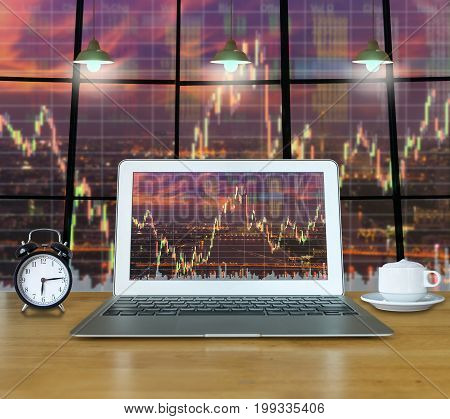 Workspace with computer laptop on the wood table which shown stock market exchange over the cityscape on the screen over photo blurred of the cityscape background business trading technology concept,3D illustration