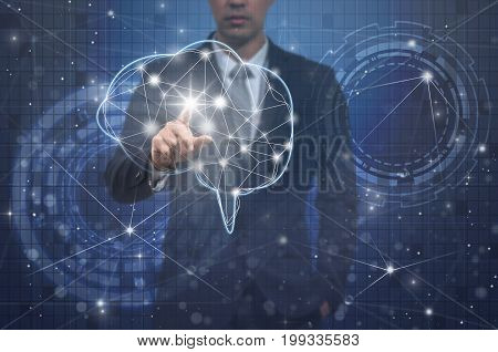 Businessman hand pointing the brain over the Innovation Technology background technology and innovation concept,3D illustration