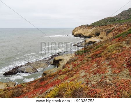 Panoramic picture at Cabrillo National Monument bluffs and tidepools. Coastal bluffs and tidepools are found along Point Loma peninsula in San Diego, USA