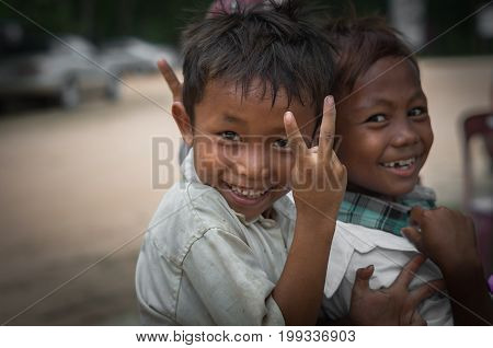 SIEM REAP CAMBODIA - MAY 2 : Unidentified boys of Cambodian at kabal spean on May 2 2015 in Siem Reap Cambodia
