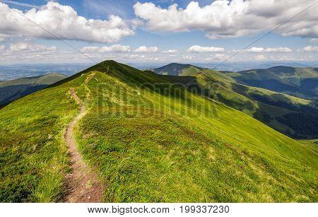 Path Through The Grassy Mountain Ridge