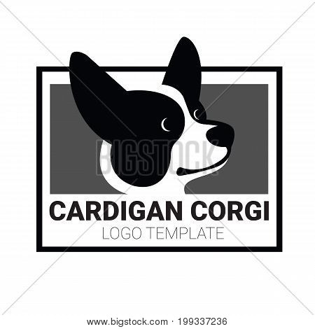 Black and white sign template with stylized vector drawing of head of dog Welsh Corgi breed
