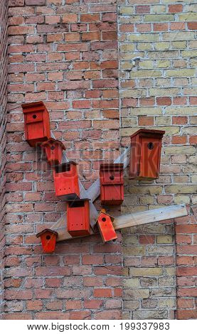 Red nesting boxes on brick wall - urban installation