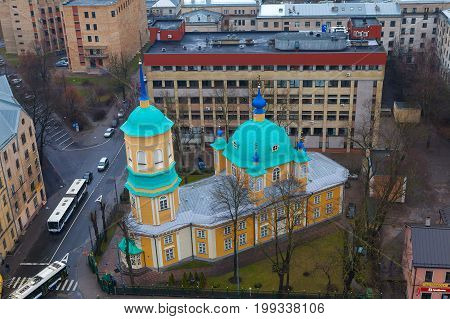 RIGA, LATVIA - 25 DEC 2015. Annunciation of Our Most Holy Lady or St. Nicholas the Miracle Worker Church is one of the oldest churches in Riga. It was first mentioned in 15th century documents.