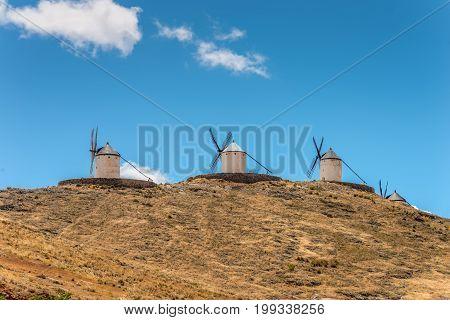 Windmills of Cervantes Don Quixote in Consuegra Toledo Castile La Mancha Spain Europe