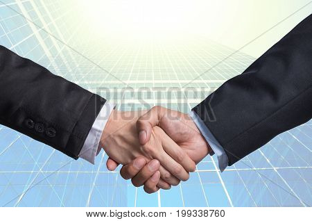 Hand shake between a businessman on Modern glass building background, 3D illustration