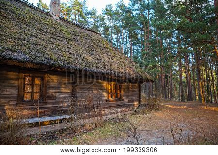 View of the rustic farm dwelling. Wooden architecture of North and Baltics