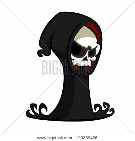Grim reaper cartoon character isolated on a white background. Cute death character in black hood