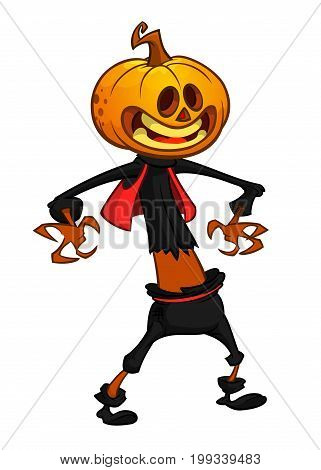 Vector cartoon image of Jack O' Lantern with orange pumpkin instead of a head in a dark coat and witch hat standing and grinning on a white background. Halloween. Vector illustration.