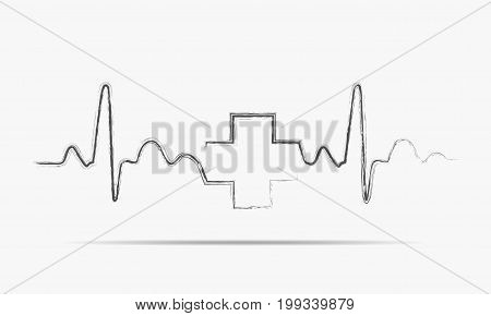 Gray heartbeat sign with medical cross. Vector illustration. Hand drawn Medical symbol in flat design.