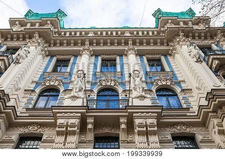Facade of an Art Nouveau Palace in Riga, Latvia.
