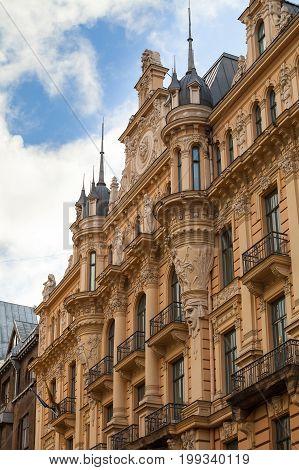 Facade of an Art Nouveau Palace in Riga, Latvia