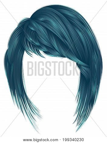 trendy  woman  hairs blue color. kare with bangs. medium length .fashion beauty style .