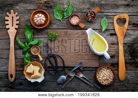 The Ingredients For Homemade Pesto Sauce Basil, Parmesan Cheese ,garlic, Olive Oil , Pine Nut ,peppe