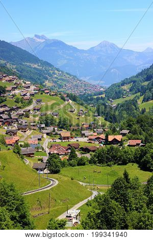 Panoramic View on Swiss Mountains during summer seasson