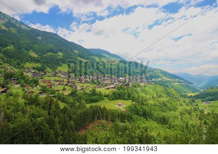 Panoramic view from Galeries Defago on Champery, Switzerland