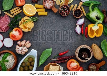 Italian Food Cooking Ingredients Basil, Parmesan Cheese ,garlic, Olive Oil , Pine Nut ,peppercorn An