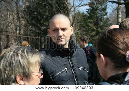 Khimki, Moscow region, Russia - April 23, 2011. Politician Sergei Udaltsov at the meeting of defenders of the Khimki forest. Defenders of the Khimki forest opposes the felling of trees.